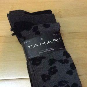 Tahari knee sock 3 pairs, black gray NWT